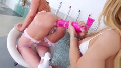 Messy lesbians playing with their anus