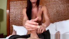 Casting beauty rubs her cunt and gets fucked