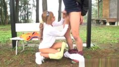 Sporty Japanese model is getting an outdoor pounding
