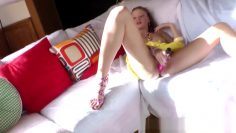 POV gaping ass playing with toys for brunette