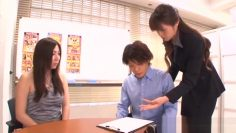 Superb office worker Maki Hokujo in mff action on camera