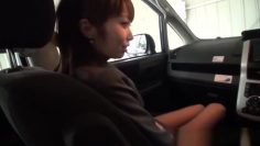 Sultry Asian office worker enjoys facefucking in the car