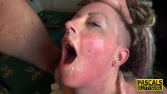 Inked submissive gets throat fucked