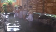 Japanese amateurs gangbanged in the outdoor baths