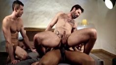 homosexual double penetration with cumshot