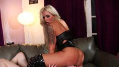 bimbo domme in thigh high boots and her fuck slaves