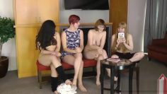 4 Nerdy Chicks Expose their Naughty Side during a Game