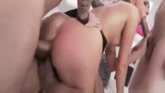 takes 3 cocks in the ass at the same time